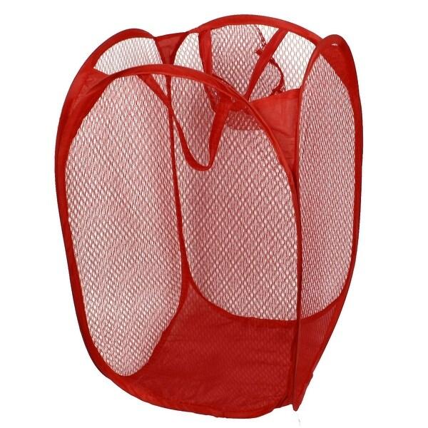 Foldable Delicates Bra Mesh Wash Bag Home Household Net Washing Laundry Basket Red