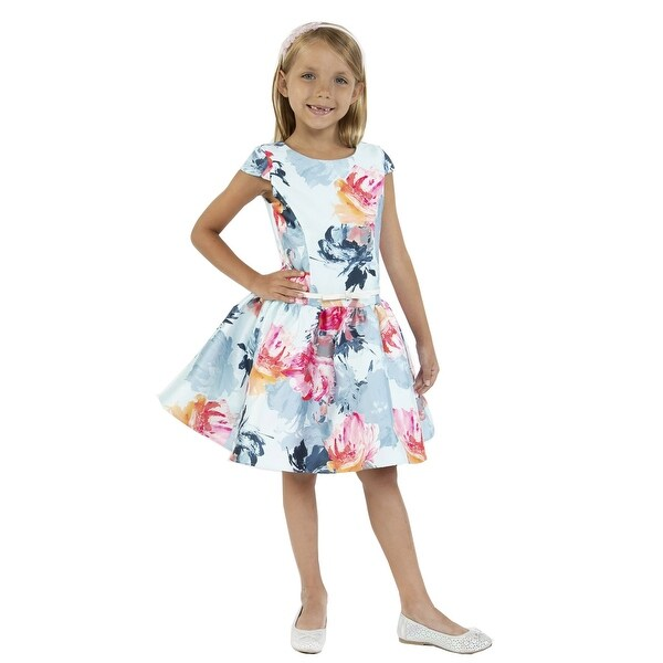 Kids Dream Girls Baby Blue Floral Mikado Junior Bridesmaid Dress. Opens flyout.