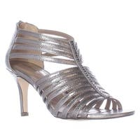 SC35 Shaynaa Strappy Jeweled T-Strap Sandals, Pewter