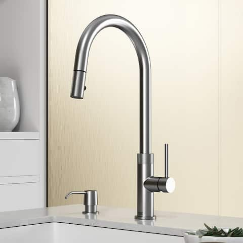 "VIGO Bristol Pull-Down Kitchen Faucet with Soap Dispenser in Stainleess Steel - 9.75""L x 4""W x 18.625""H"