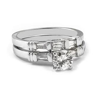 1 00 CT Round Baguette Cut Three Stone Diamond Bridal Set In 14KT White H I