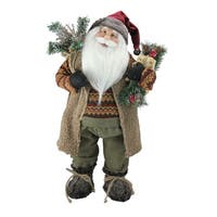 "24"" Country Rustic Standing Santa Claus Christmas Figure - brown"