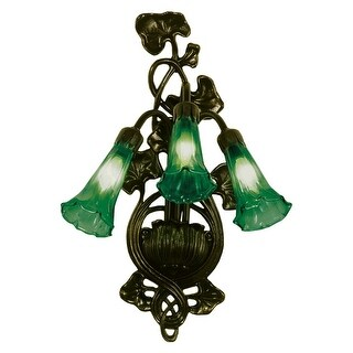 "Meyda Tiffany 17537 Lilies 11"" Wide 3-Light Wall Sconce with Art Glass Shade - Green - n/a"