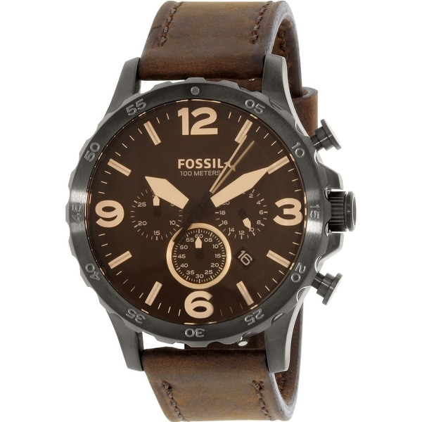 d4e1c34f4 Shop Fossil Men's Nate Brown Leather Quartz Fashion Watch - Free ...