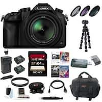 Panasonic Lumix DMC-FZ1000 4K QFHD/HD 16X Long Zoom Digital Camera (Black) with 64GB Deluxe Accessory Bundle