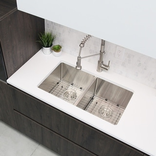 """Link to 28""""L x 18""""W Stainless Steel Double Basin Undermount Kitchen Sink with Grids and Strainers Similar Items in Canvas Art"""