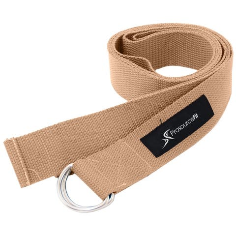 ProsourceFit Metal D-Ring Yoga Strap 8' for Stretching and Flexibility