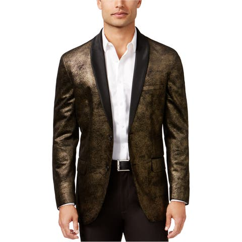 I-N-C Mens Foil Two Button Blazer Jacket