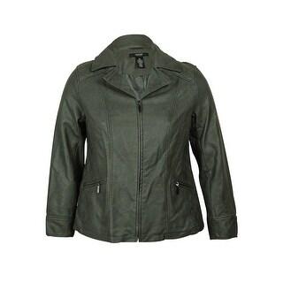Alfani Women's Faux Leather Jacket - 0X