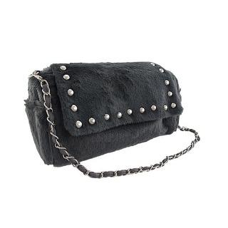 Gray Faux Fur Chrome Studded Handbag Purse
