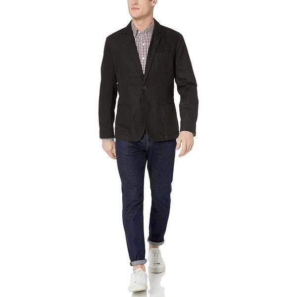 Goodthreads Men's Standard-Fit Linen Blazer, Black, XX-Large. Opens flyout.
