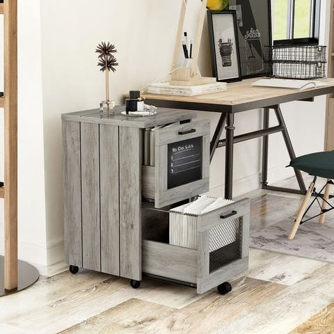 Felix Rustic Grey Oak Finish 2-drawer File Cabinet