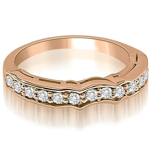 0.25 cttw. 14K Rose Gold Curved Round Cut Diamond Wedding Ring