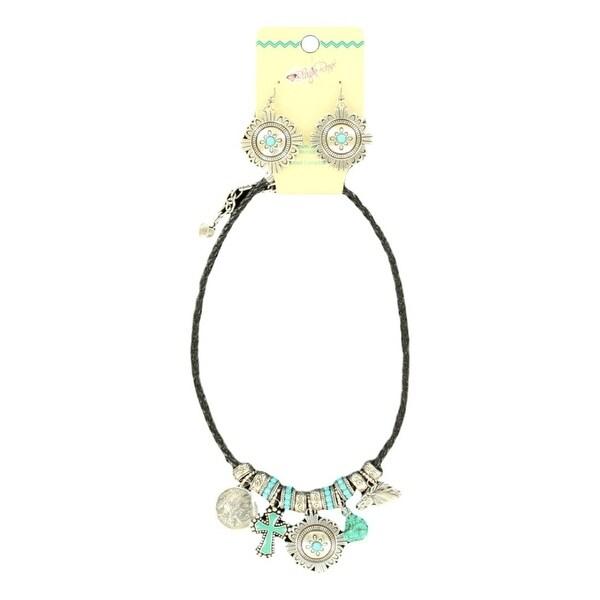 Blazin Roxx Jewelry Women Necklace Earring Rope Silver Turquoise 29068