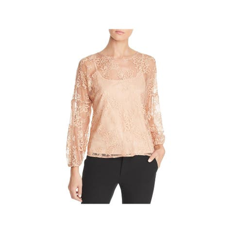 Status by Chenault Womens Blouse Lace Floral