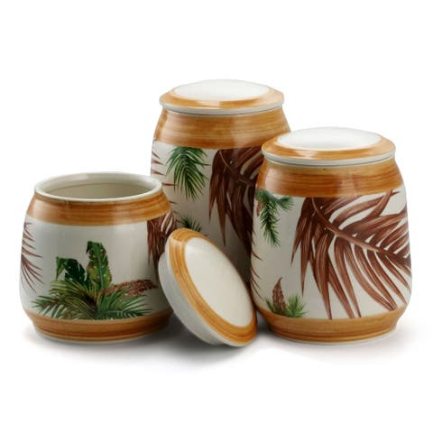 Elama Forest Palm 3 Piece Ceramic Kitchen Canister Set in Sand