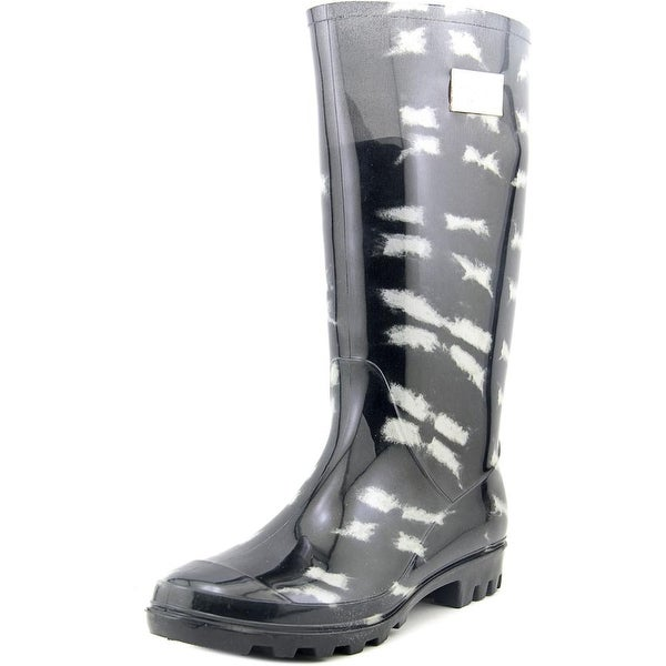Nicole Miller New York Rena Women Round Toe Synthetic Black Rain Boot