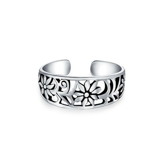 Flowers Craved Swirl Cut Out Filigree Midi Band Toe Ring For Women 925 Silver Sterling Mid Finger Adjustable