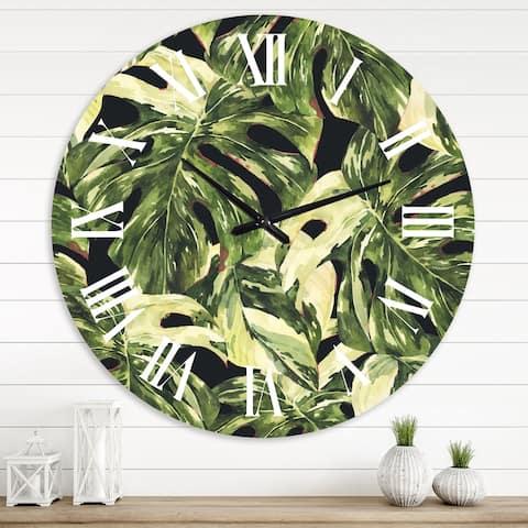 Designart 'Natural Leaves Exotic On Dark II' Tropical wall clock
