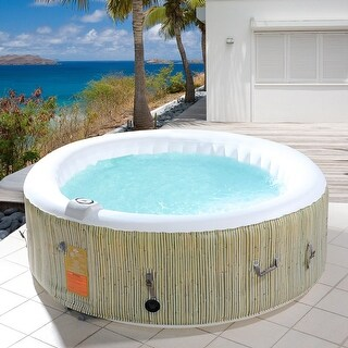 Goplus 4-6 Person Inflatable Hot Tub Outdoor Jets Portable Heated Bubble Massage Spa - as pic