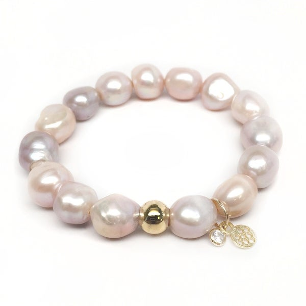 """Pink Baroque Pearl Emma 7"""" Bracelet"""