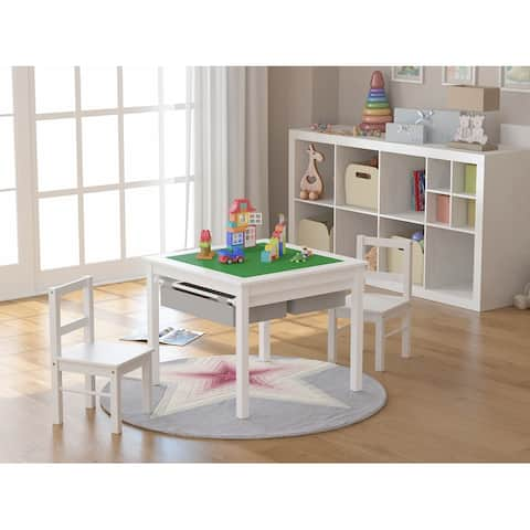 UTEX-2 in 1 Kids Activity Lego Table Set with Storage, Kids Table with 2 Chairs, White with Gray Drawer