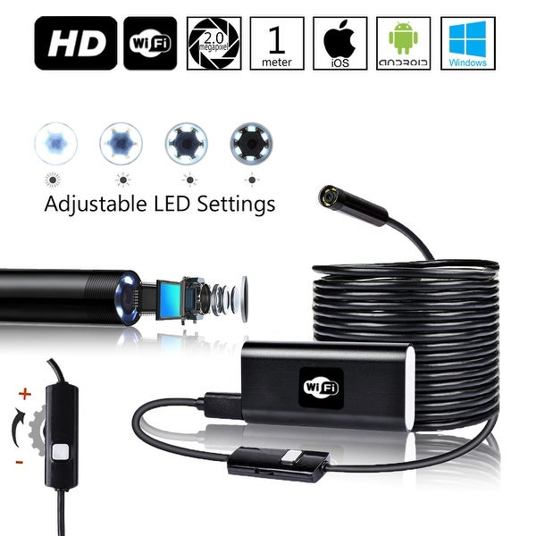 Indigi® Wireless WiFi Borescope Inspection HD Snake Cam [ 1M Length - 6x Adjustable LEDs - iOS & Android - Waterproof ]