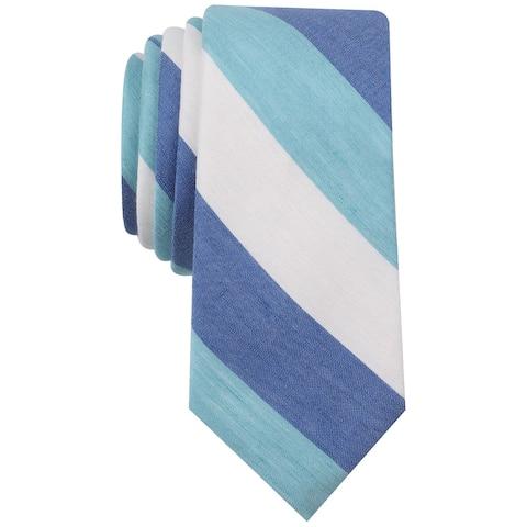 bar III Mens Addison Stripe Necktie, blue, One Size - One Size