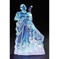 "7.75"" Icy Crystal Battery Operated LED Lighted Religious Holy Family Christmas Figure - CLEAR"