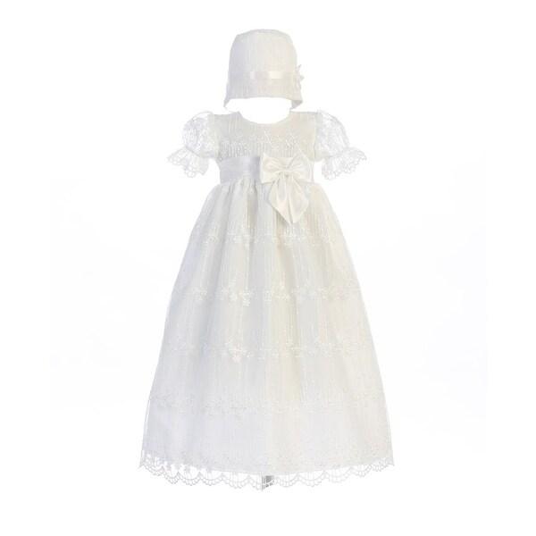 Baby Girls White Ribbon Bow Accent Camilla Christening Hat Dress
