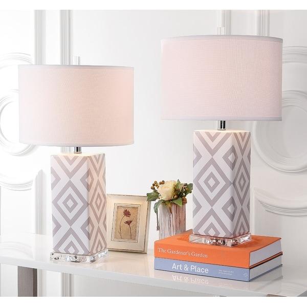 "SAFAVIEH Lighting 27-inch Grey Diamonds Table Lamp (Set of 2) - 15""x15""x27"". Opens flyout."