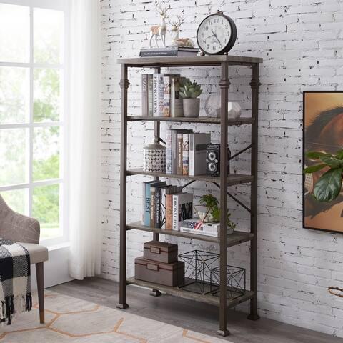 Industrial 5-Tier Open Bookcase Metal Storage Bookshelf
