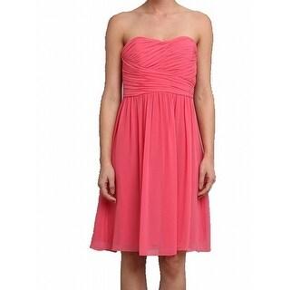Donna Morgan NEW Pink Women Size 16 Strapless Chiffon Dress