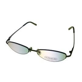 Coach Womens Opthalmic Eyeglass Frame Oval Rimless Metal, Sherri 122 Slate