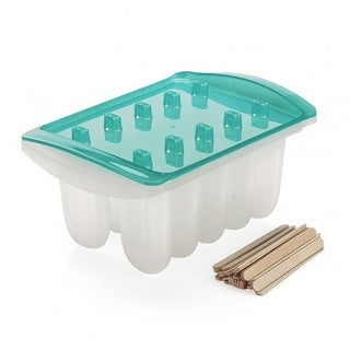 Good Cook Sweet Creations Ice Pop Maker Set With Wooden Sticks, Blue-Clear
