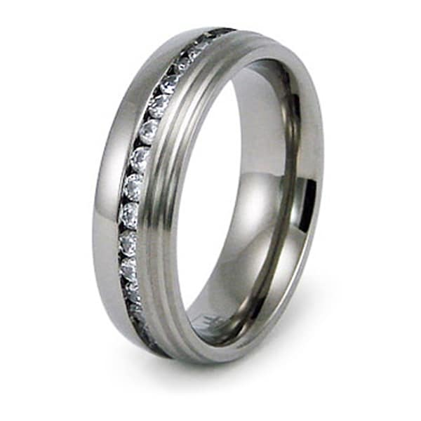 5mm Titanium Ring with CZ (Sizes 8-12)