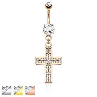 Gem Paved Cross Dangle Navel Ring