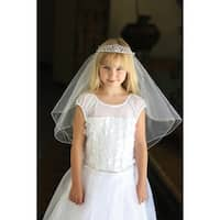 Angels Garment Girls White Glitter Rhinestone Tiara Communion Flower Girl Veil