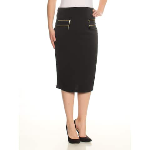 GRACE ELEMENTS Womens Black Zippered Below The Knee Pencil Wear To Work Skirt Size: M