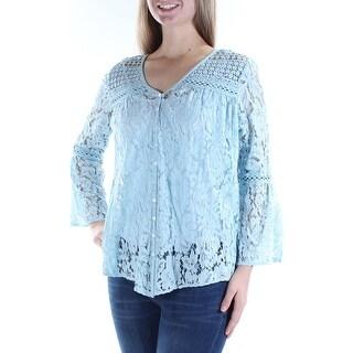 KAREN KANE $118 Womens 1053 Light Blue Embroidered Lace 3/4 Sleeve Top XS B+B
