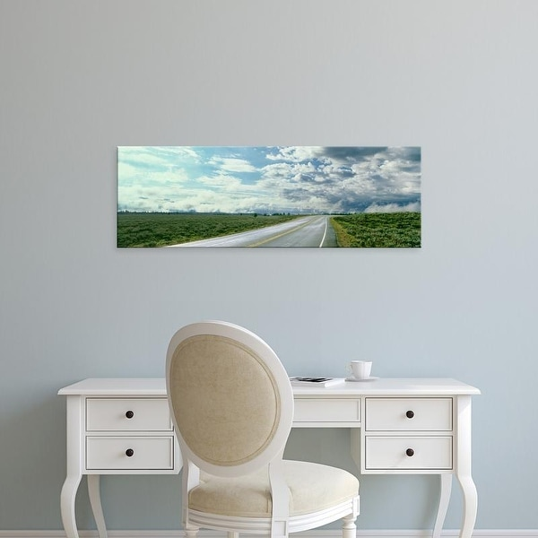 Easy Art Prints Panoramic Images's 'Road passing through a field, Grand Teton National Park, Wyoming, USA' Canvas Art