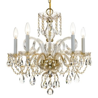 Link to Traditional Crystal 5 Light Crystal Brass Chandelier - 22'' W x 21'' H Similar Items in Chandeliers