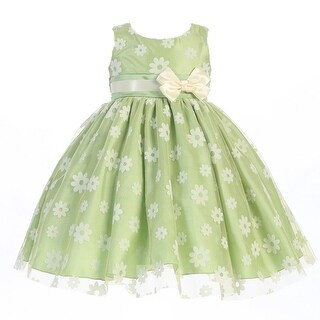 Baby Girls Apple Green Flocked Tulle Special Occasion Easter Dress 3-24M
