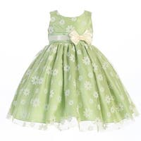 Little Girls Apple Green Flocked Tulle Special Occasion Easter Dress 2T-6