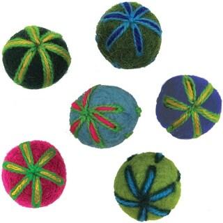 """Feltworks Embroidered Balls-.75"""" 6/Pkg - Red"""