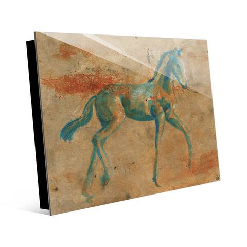 Kathy Ireland Rustic Spring Foal in Blue & Orange Abstract on Acrylic Wall Art Print