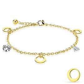 CZ and Round Moon Dangling Charm Chain Gold IP Stainless Steel Anklet/Bracelet (13.5 mm) - 9 in