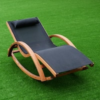 Costway Outdoor Rocking Lounge Chair Larch Wood Beach Yard Patio Lounger W/ Headrest