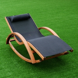 wood lounge chairs. Costway Outdoor Rocking Lounge Chair Larch Wood Beach Yard Patio Lounger W/ Headrest Chairs