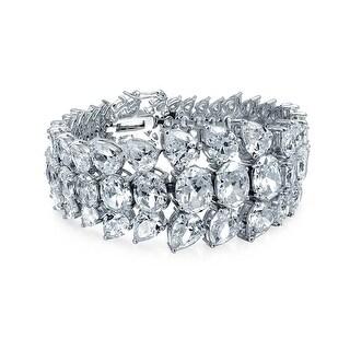 Bling Jewelry Teardrop Clear CZ Tennis Bracelet 7.5in Rhodium Plated